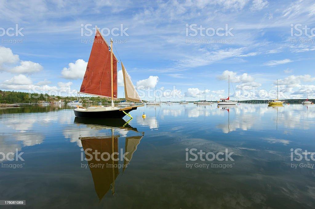 Sailboat Reflection, Yellowknife. stock photo