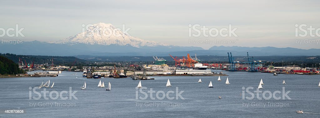Sailboat Regatta Commencement Bay Puget Sound Downtown Port Tacoma stock photo