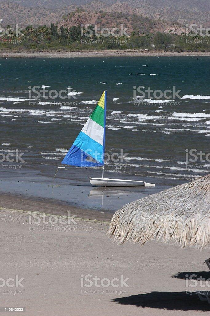 Sailboat rests on Loretto Bay, Mexico stock photo