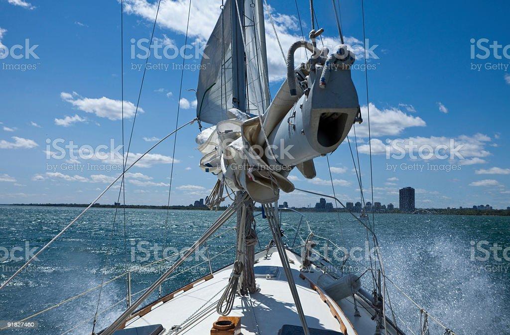 Sailboat Rough Sea Toronto Lake Ontario royalty-free stock photo