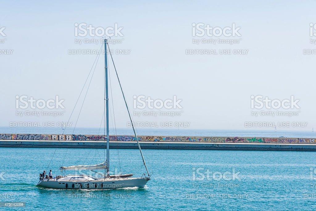 Sailboat sailing, Barcelona stock photo