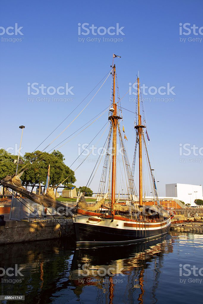 Sailboat sailing in sky stock photo