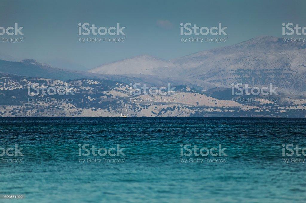 Sailboat sailing the Ionian Sea, Greece stock photo
