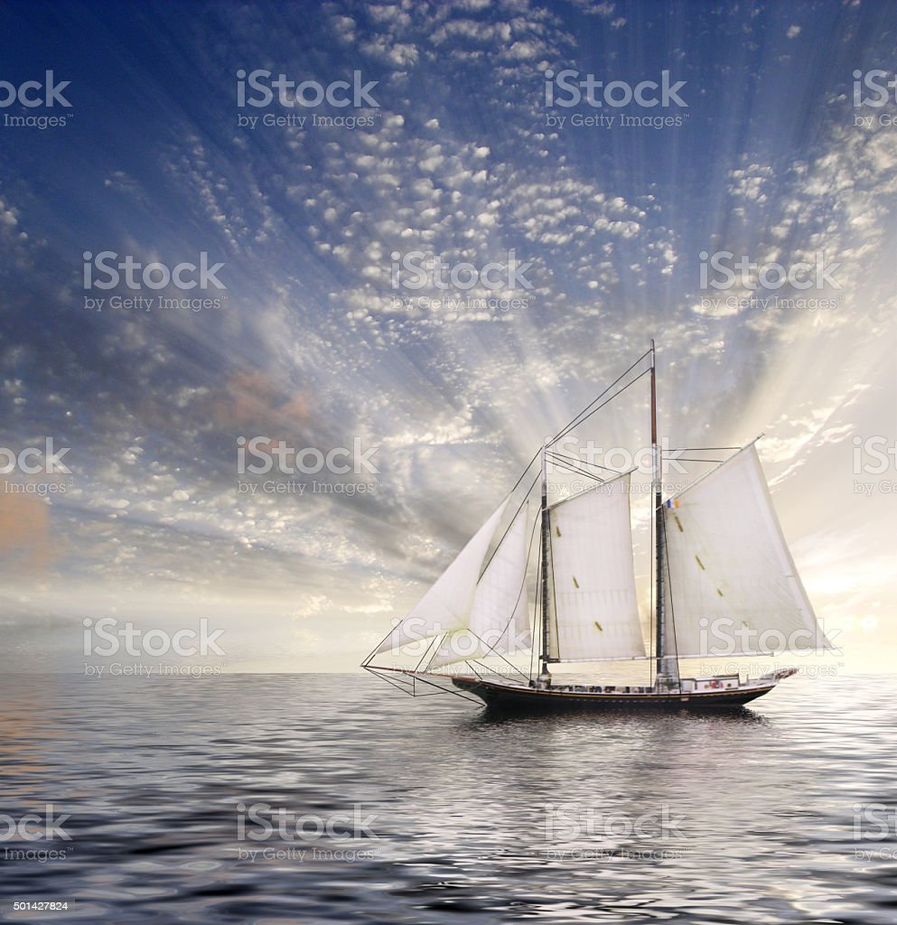 Sailboat Sun and sky stock photo