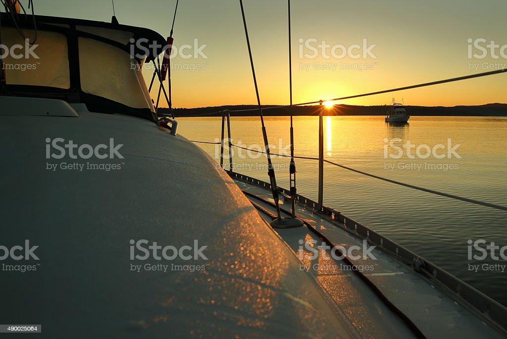 Sailboat Sunrise stock photo
