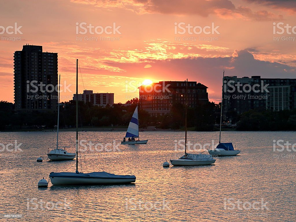 Sailboat Sunset over Lake Calhoun stock photo