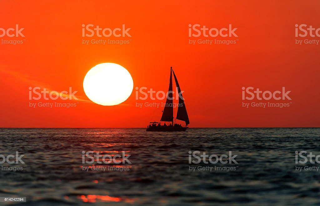 Sailboat Sunset stock photo