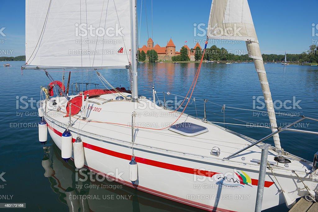Sailboat tied at the Galve lake  in Trakai, Lithuania. stock photo