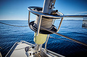 Sailboat Winch and Rope Yacht detail. Yachting.