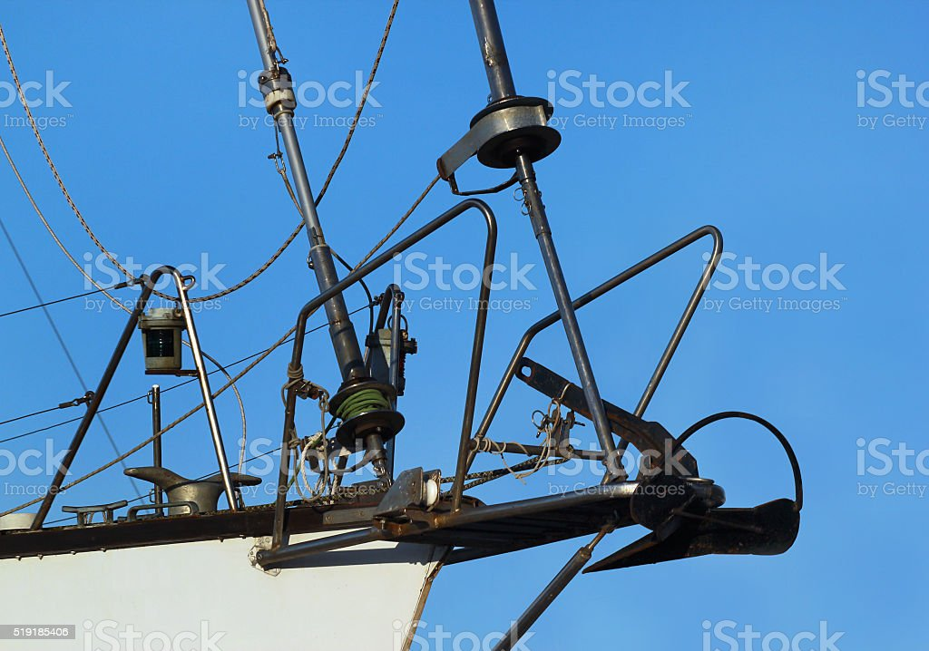 Sailboat winch and rope. Yacht nose detail stock photo