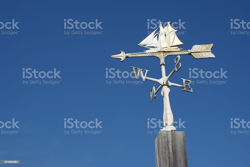 Sailboat wind vane against clear sky with copy space stock photo