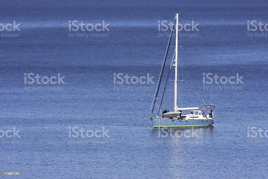Sailboat Yacht Moored Azure Sea royalty-free stock photo