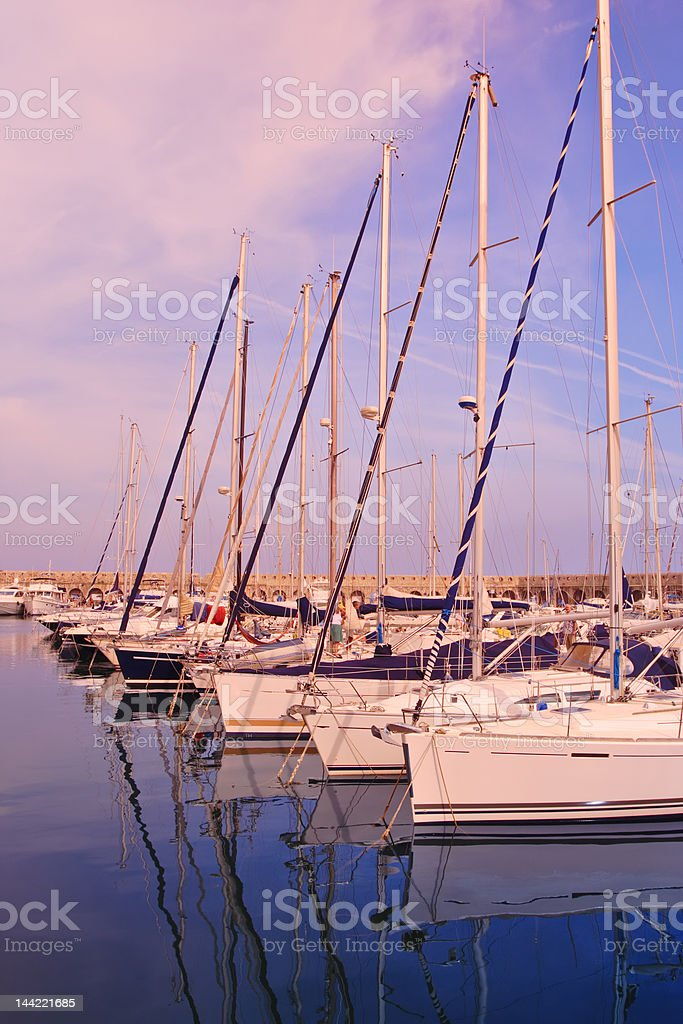 Sailboats anchored at port royalty-free stock photo