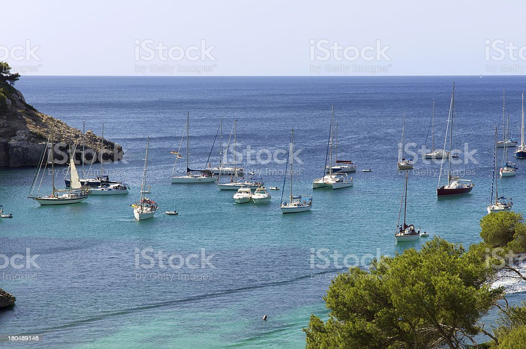 Sailboats anchored royalty-free stock photo