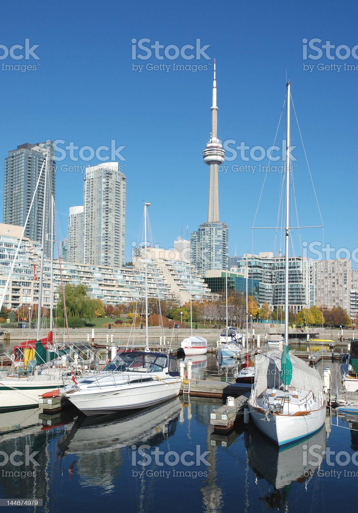 Sailboats and Toronto skyline royalty-free stock photo