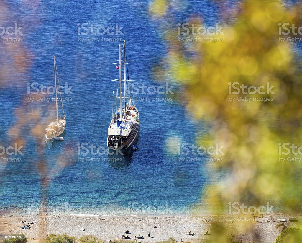 Sailboats at Butterfly valley stock photo