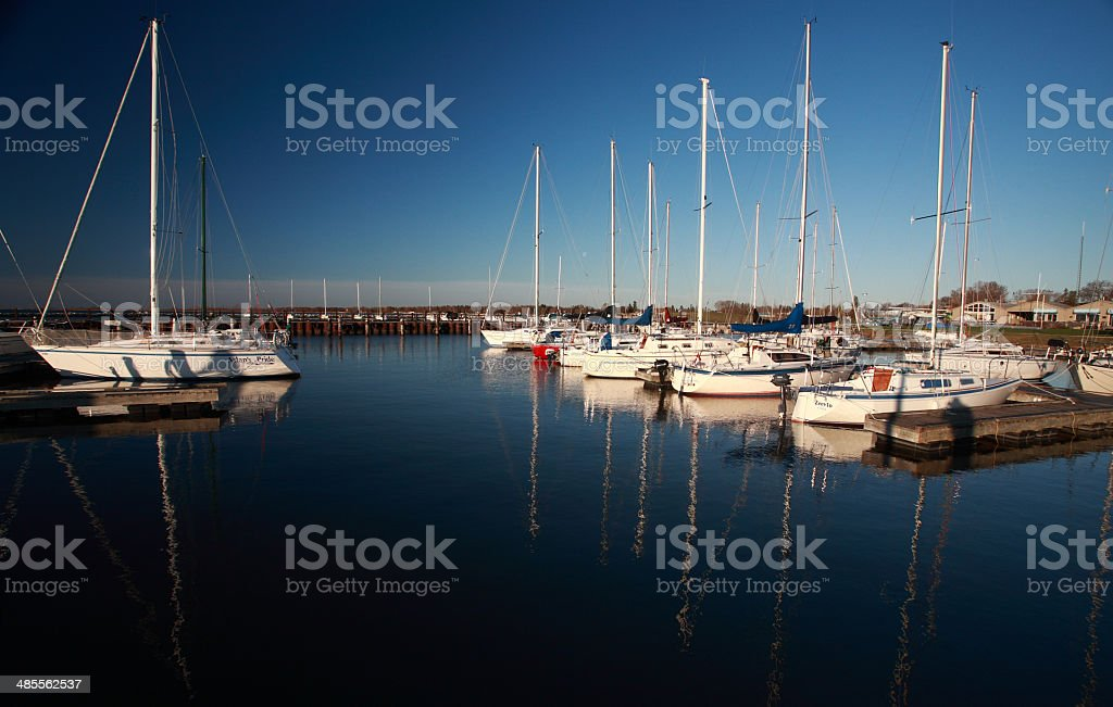 sailboats at Gimli Marina on Lake Winnipeg stock photo
