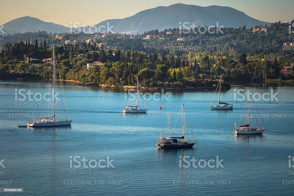 Sailboats at Gouvia bay, Corfu, Greece stock photo