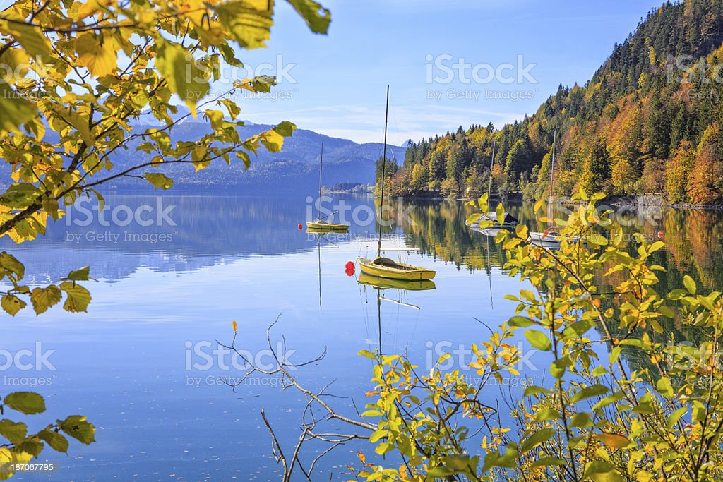 Sailboats at Lake Walchen (Walchensee) royalty-free stock photo