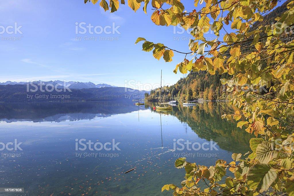 Sailboats at Lake Walchen (Walchensee) stock photo