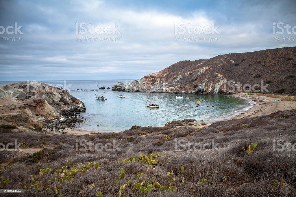 Sailboats at Little Harbor, Catalina Island, California royalty-free stock photo