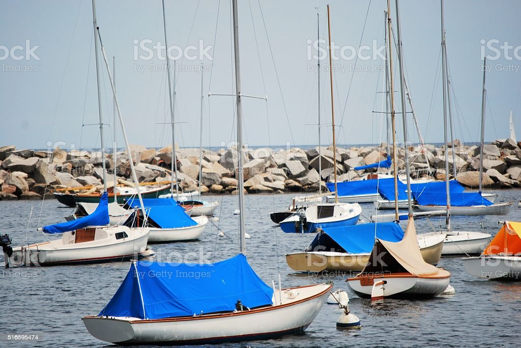 Sailboats at Rest in Rockport Harbor stock photo