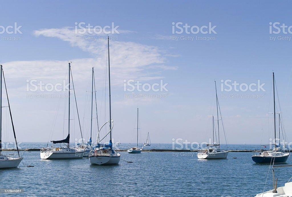 Sailboats at rest royalty-free stock photo