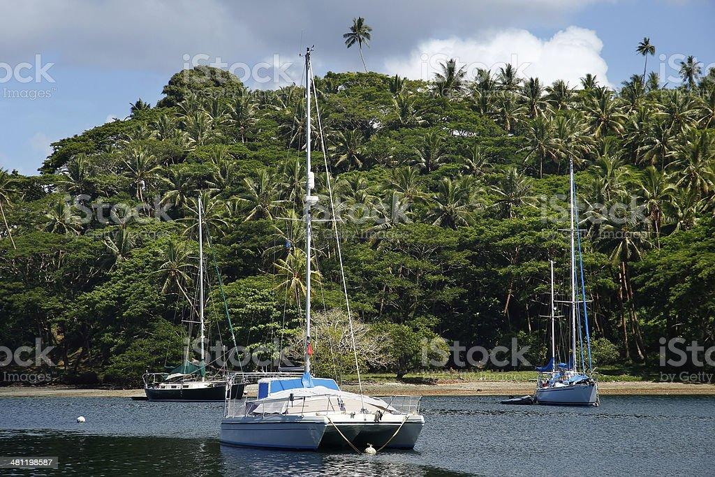 Sailboats at Savusavu harbor, Vanua Levu island, Fiji stock photo