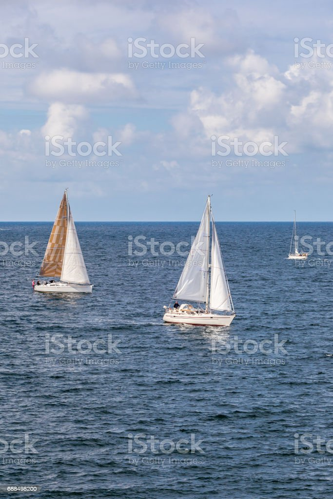 Sailboats at sea with fine weather stock photo