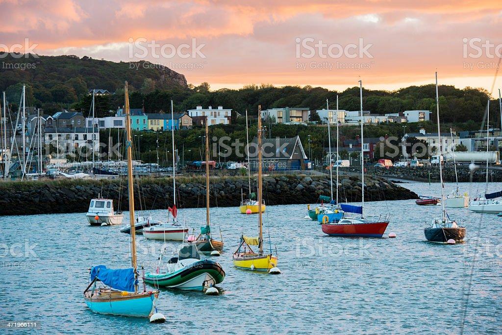 Sailboats at Sunset in Howth Ireland stock photo
