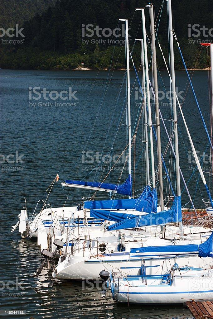 Sailboats at the pier stock photo