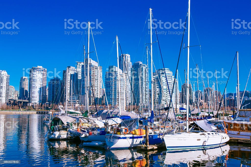 Sailboats docked in Vancouver stock photo