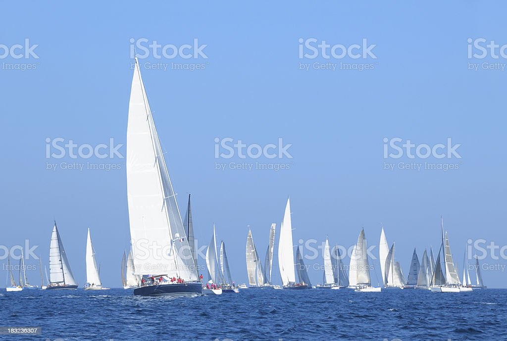 Sailboats during a regatta on the French Riviera stock photo
