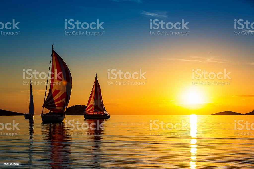 Sailboats formation at sunset stock photo
