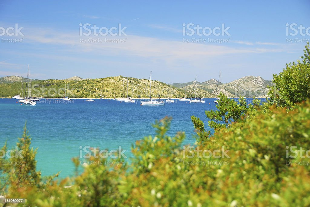 Sailboats in a Bay of the Kornati islands. royalty-free stock photo