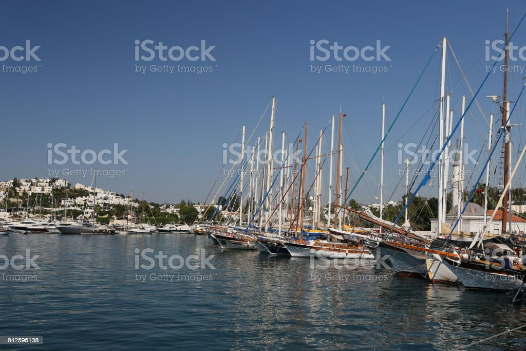 Sailboats in Bodrum Marina stock photo