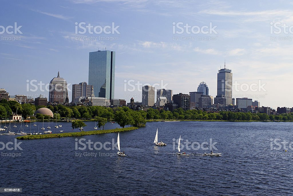 sailboats in boston stock photo