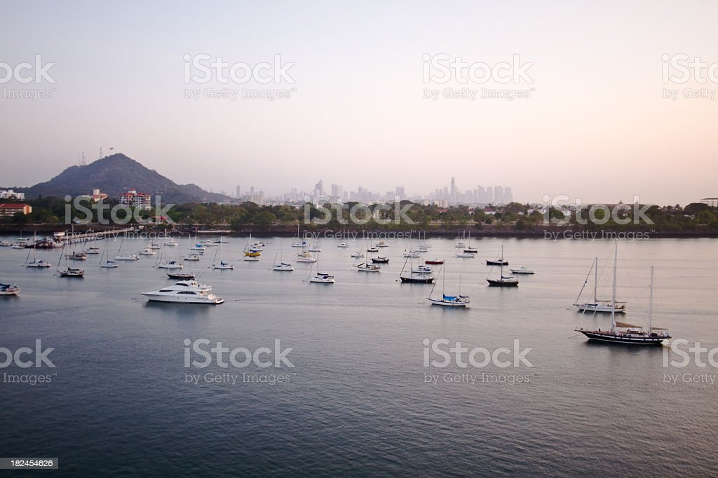 Sailboats in Harbor at Panama City royalty-free stock photo