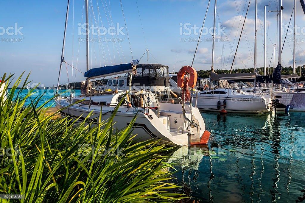 Sailboats in Marina, Mikolajki, Poland stock photo