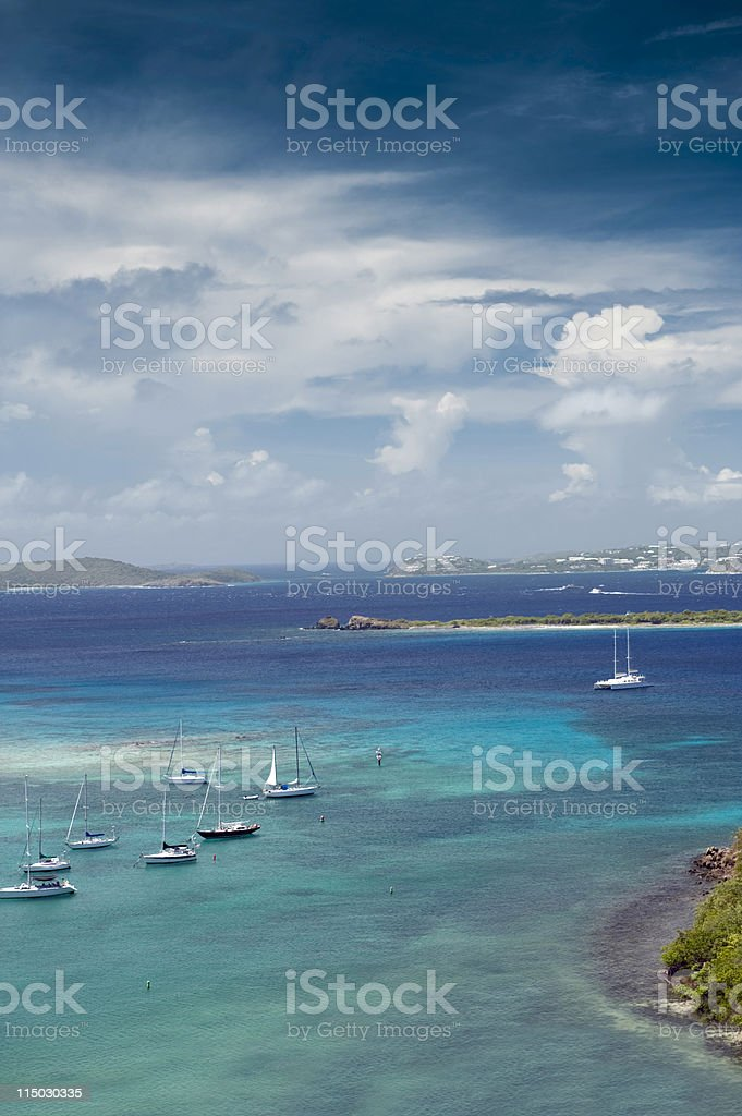 sailboats in paradise royalty-free stock photo