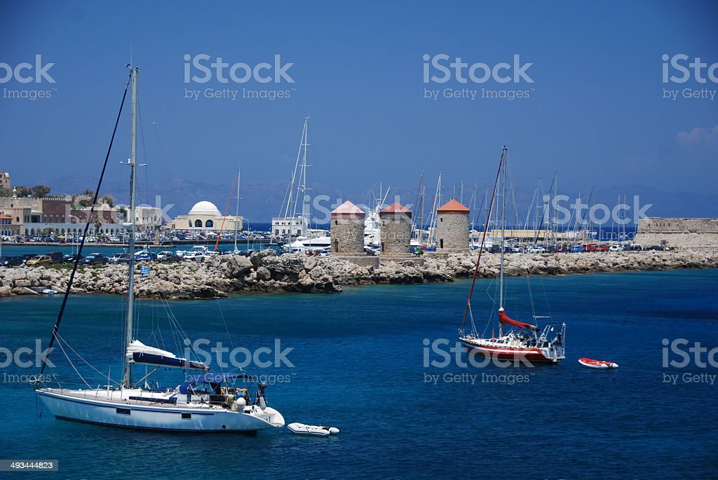 Sailboats in Rhodes Town Harbour. royalty-free stock photo