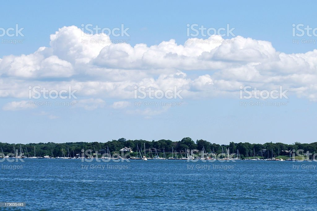 Sailboats In The Harbor stock photo