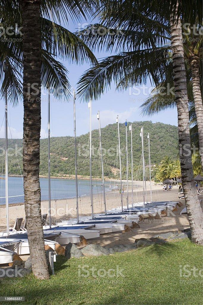 Sailboats line Hamilton Island beach royalty-free stock photo