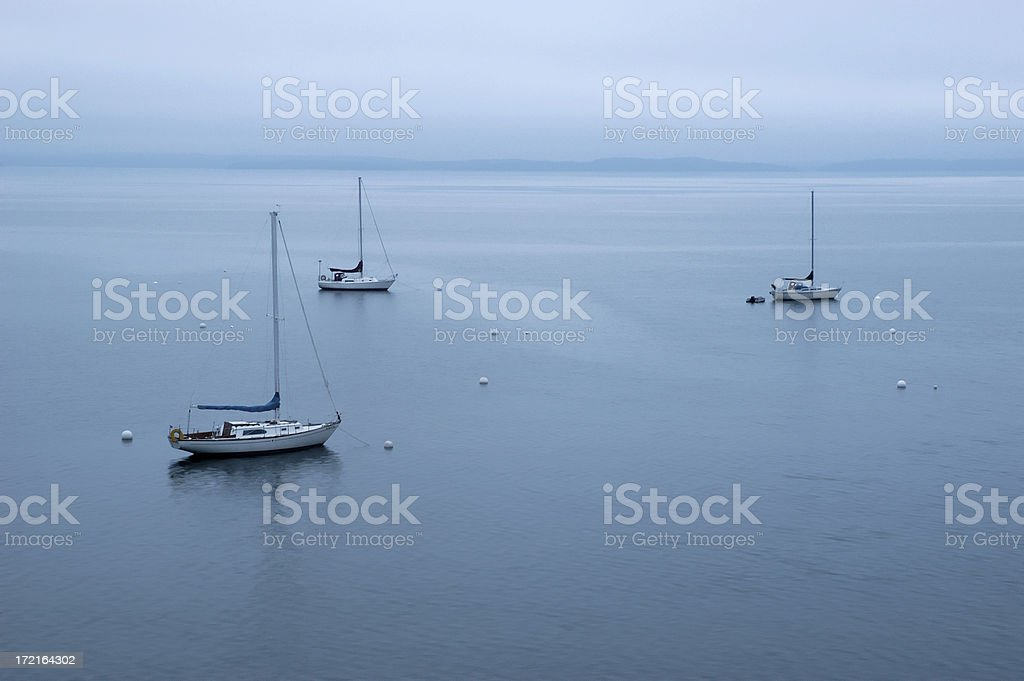 Sailboats moored in calm water royalty-free stock photo