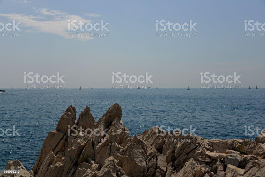 Sailboats Off Cap Ferrat stock photo