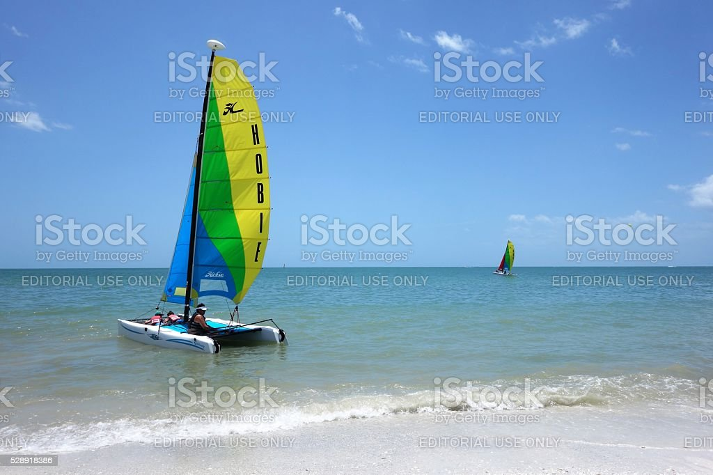 Sailboats off shore in Gulf of Mexico stock photo