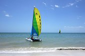 Sailboats off shore in Gulf of Mexico