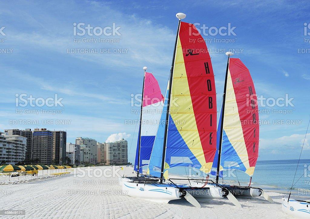 Sailboats on beach Marco Island, Florida, FL, USA stock photo