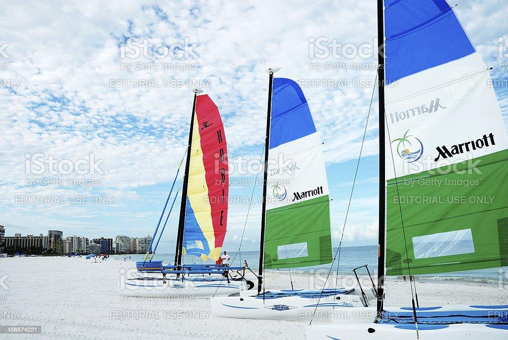 Sailboats on beach. Marco Island, Florida, USA stock photo