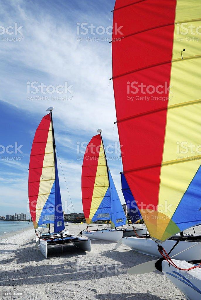 Sailboats on beach stock photo